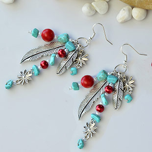 Feather Tibetan Style Pendants Earrings