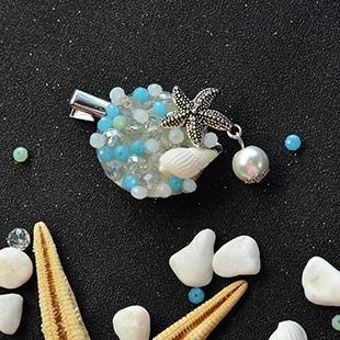 Ocean Style Glass Bead Brooch