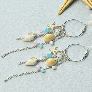 Ocean Style Tassel Hoop Earrings