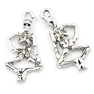 Tibetan Style Human Skeleton Punk Alloy Pendants for Halloween Jewelry Making, Antique Silver, about 26mm long, 13.5mm wide, 3.5mm thick, hole: 2mm