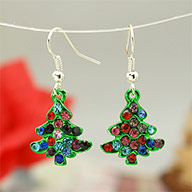 Fashion Earrings for Christmas, with Enameled Alloy Pendants and Brass Earring Hooks, Green, 36mm