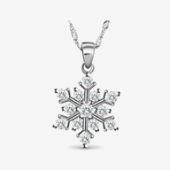 SWEETIEE&reg Glittering Sterling Silver Pendant Necklace, Christmas, with Micro Pave AAA Cubic Zirconia Snowflake Pendant, Silver, 17.7