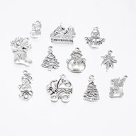 Christmas Mixed Style Tibetan Style Alloy Pendants, Antique Silver, 19~30x13~22x1.5~4mm, Hole: 2mm, about 40pcs/100g
