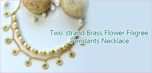Two-strand Brass Flower Filigree Pendants Necklace