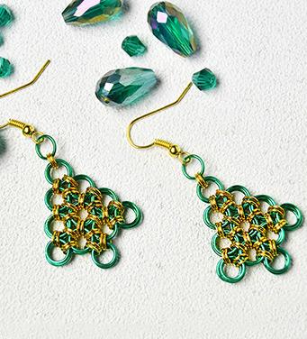 Christmas Tree Jump Rings Earrings