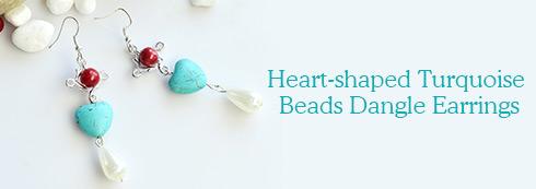 Heart-shaped Turquoise Beads Dangle Earrings