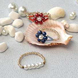 Pearl Bead Flower Rings