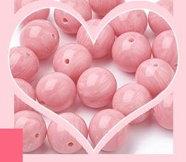 Розовая смолы бусины