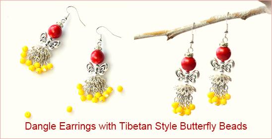 Earrings with Tibetan Style Butterfly Beads