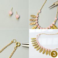 Gold Feather Pendant Bib Necklace with Rose Quartz Beads
