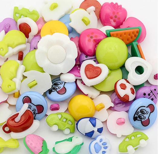 Regalo gratuito por tiempo limitado en mayo, botones de mango lindo para la venta, botones decorativos a granel en línea, 1 agujero, teñido, color mezclado, 11~19x10.5~20x2~6mm, agujero: 2~3 mm