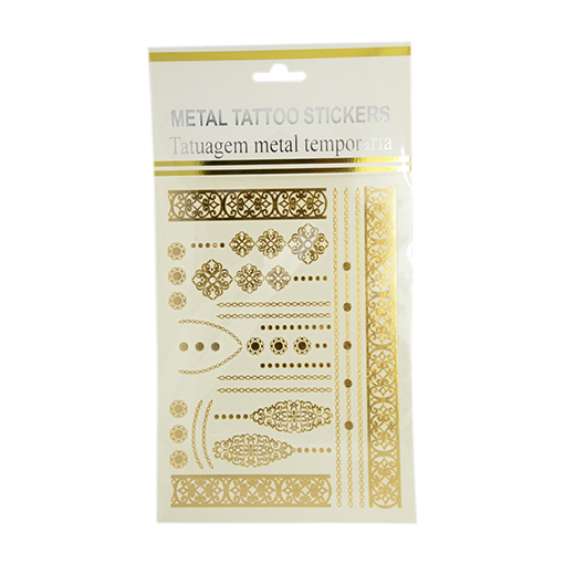 Cool Body Art Mixed Floral Pattern Removable Fake Temporary Tattoos Metallic Paper Stickers, Gold, 5~180x8~93mm; 1pcs/bag