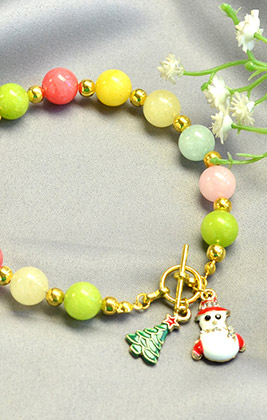 Christmas Bracelet with Candy Jade Beads