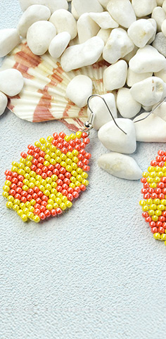 Easter Seed Beads Egg Earrings